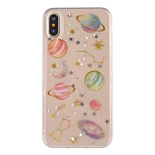 Accessory Compatible iPhone Halloween Hot Sale!!Kacowpper Luxury Clear Bling Planet Soft Rubber TPU Case Cover Compatible iPhone Xs/XS Max/XR ()