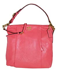 Coach Madison Isabelle Leather Convertible Hobo Handbag 21224 Peony Pinnk