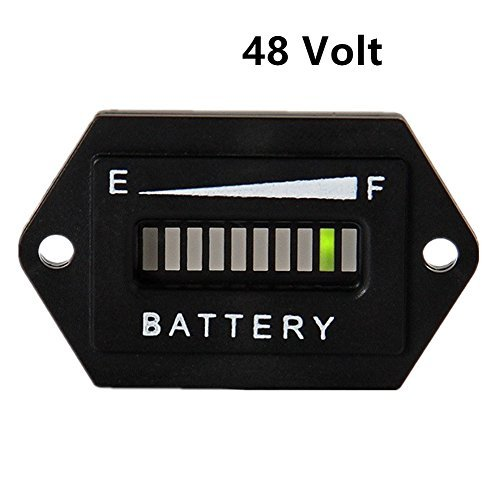 Aimila 48V LED Battery Charge Discharge Status Indicator Gauge Testers for Lead-Acid Battery Golf Cart Club Car Hex