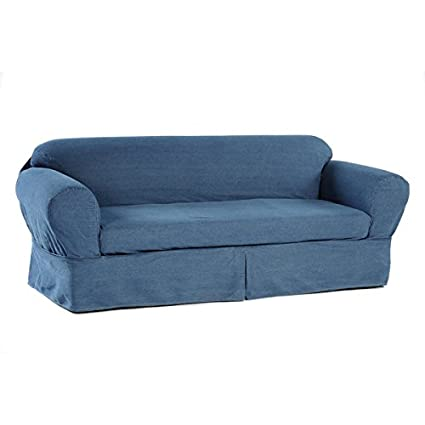 Superbe 2 Piece Cotton Washed Heavy Denim Sofa Slipcover, Blue