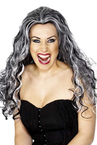 Smiffys Women's Long and Curly with Black and Grey Streaks, One Size, Renaissance Vamp Wig,  5020570292433 ()