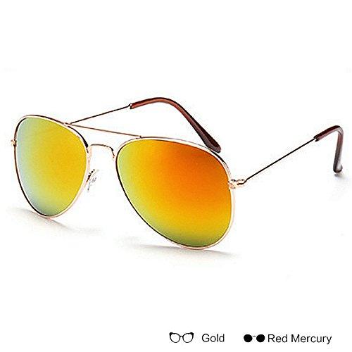 TIANLIANG04 Uomo Donne Vintage Specchio Occhiali Da Sole Uv400,Gold Blue Mercury