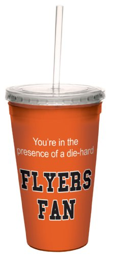 Tree-Free Greetings cc34189 Flyers Hockey Fan Artful Traveler Double-Walled Cool Cup with Reusable Straw, 16-Ounce Flyers Fan