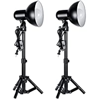 Neewer 2 Pieces 12W LED Photography Table Top Lighting Kit,includes:(2)Max Height 15/38cm Light Stand+(2)Light Heads with Reflector+(2)12W 110V Day-Light Studio Light Bulb