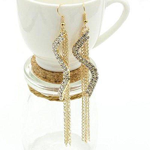 Fuleewoo Party Accessories Linear Earrings Brilliant Quality Women Jewelry Austrian Crystal Drop Earrings Wedding Earrings S Shape Long Tassels Rhinestone Hook Dangle Ear - Crystal Earrings Austrian Brilliant