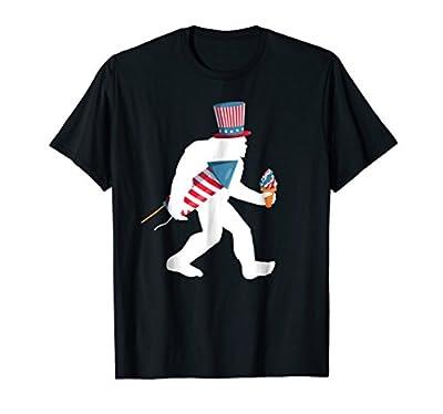 Bigfoot Fireworks Shirt 4th of July Sasquatch American Flag