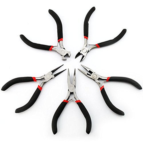 Price comparison product image 5PC Jewellery Mini Pliers Tools Kit Cutter Chain Round Bent Nose Beading Making