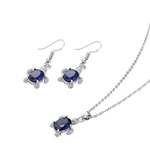 YJYdada Pendant, Women's Tortoise Pendant Earring Necklace Ornament Jewellery Suit (Blue)