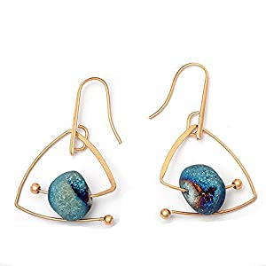 Anchilly Triangle Drop Dangle Earring Natural Gemstone Eardrop Jewelry Gift for Women