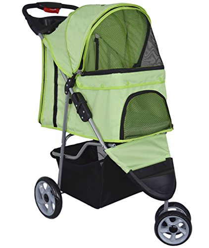 Cheap VIVO Three Wheel Pet Stroller, for Cat, Dog and More, Foldable Carrier Strolling Cart, Multiple Colors (Green)