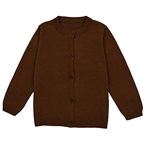 JELEUON Little Girls Cute Crew Neck Button-Down Solid Fine Knit Cardigan Sweaters 12-18 Months