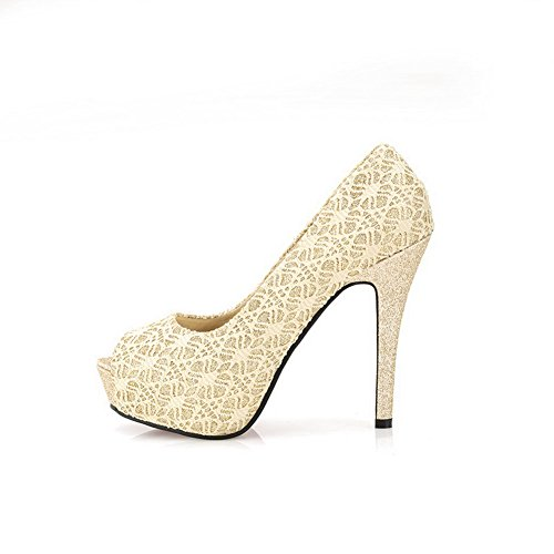 40 Platform Material Soft Toes WeiPoot Heel Open High Women's Pumps Peep PU Stiletto Gold IqCSvCOwFn