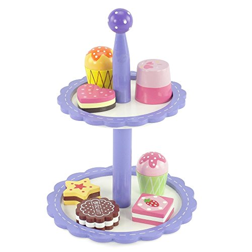 (18-inch Doll Food Accessories |8-Piece Bakery Cupcake Tower - Hand Painted Wood | Fits American Girl Dolls)
