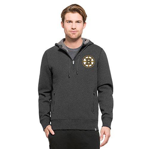 NHL Boston Bruins Men's '47 Compete 1/4 - Zip Hood, CHARCOAL Heather, Medium