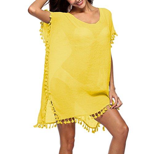 Estate Da Costume Coverups Yellow Ottimo Hem per Bagno Donna Garza da Bikini Sciolto Nappa Zhuhaitf Signore Caftani Spiaggia qBnwv5vt
