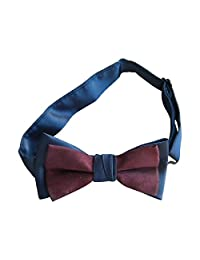 Boys Adjustable Banded Bowtie Satin and Suede - Navy/Burgundy