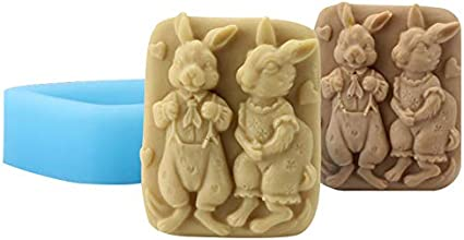 Nicole Natural Handmade Soap Silicone Mold Lovers Rabbit Pattern Craft Resin Clay Chocolate Candy Mould