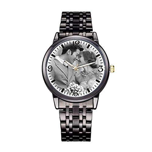 (Personalized Graphic Photo Quartz Watch Stainless Steel Wrist Watches for Men Women Custom Any Photo Engrave Text On The Back (Mens-40mm, Black))