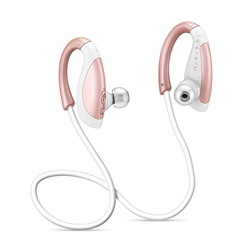 Bluetooth Headphones Wireless Sport Earbuds with Mic, Yoobao YBL110 Sound Noise Cancelling Earphone, Fast Pairing Secure Fit for Sports Gym Running Exercising, 8 Hours Play Time-Rosegold