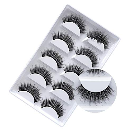 5 pairs Mink Eyelashes 3D False lashes Thick Crisscross Makeup Eyelash Extension Natural Volume Soft Fake Eye Lashes,G803 (Atx Collection Cross)