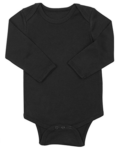 Elowel Long Sleeve Black Baby Bodysuit 100% Cotton (Size18-24M)