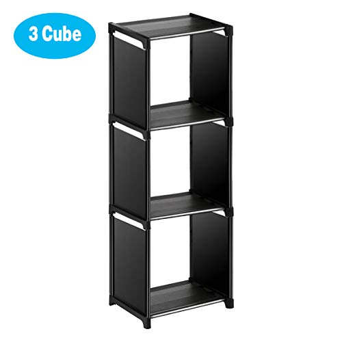Wishwill Cube Storage 3-Cube Closet Organizer Storage Shelves Cubes Organizer DIY Plastic Closet Cabinet Modular Bookshelf Organizing Storage Shelving for Bedroom Living Room Office, Black