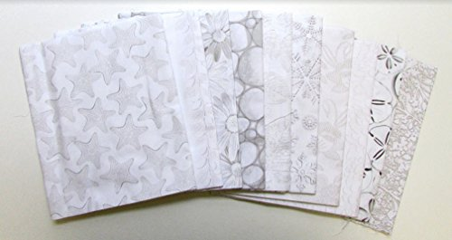 Tone Fat Quarter (White Out Grey with Tan Tones Collection 10 pc Cotton Fabric Quilting FQs Assortment by Benartex Studio)