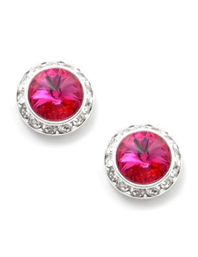 Silver Fuchsia Rhinestone 21mm Rondelle Circle Round Shape Stud Earrings -