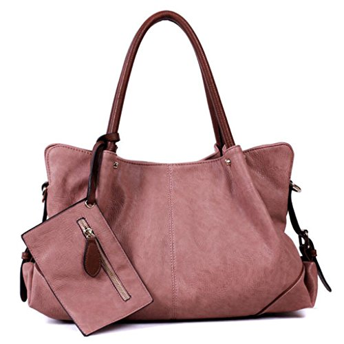 Ppge Women Handbag Pu Leather Handbag Shoulder Bag Briefcase Shoulder Messenger Bag Woman Single Bag Tote Bag Tote Bag Shopper, Pink1,39 * 15 * 28cm