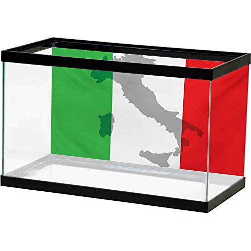 bybyhome Paper Aquatic Underwater Italian Flag,Map View of Italy Land Chart National Country Europe Ancient Culture,Grey Red Fern Green Water Plants & Coral Reef Poster