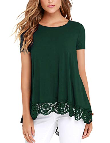 - DOSWODE Womens Tops Short Sleeve Lace Trim O-Neck A-Line Tunic Blouse Shirts Green S