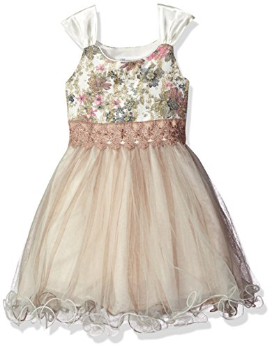 Bonnie Jean Little Girls' Sequin Bodice Tulle Party Dress, Ivory, 6