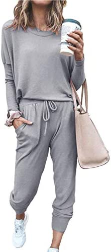 Meenew Women's Casual 2 Piece Sweatsuit Long Sleeve Pullover Jogger Pant Outfits Set