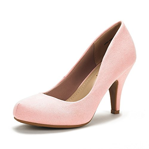 Heel Suede Pumps (DREAM PAIRS ARPEL Women's Formal Evening Dance Classic Low Heel Pumps Shoes New Pink Suede Size 8.5)