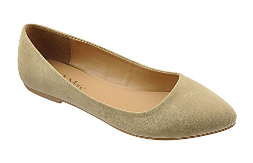 Bella Marie Angie-53 Women's Classic Pointy Toe Ballet Slip On Flats Shoes Tan *
