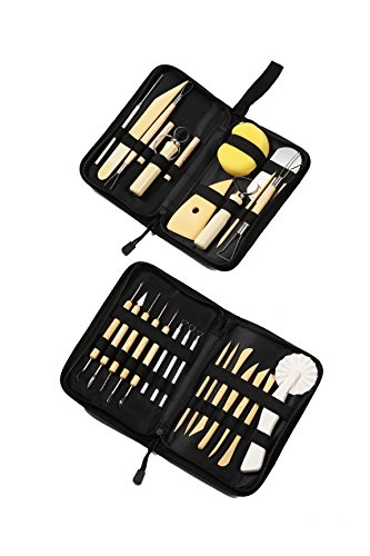 Sculpting Tools Kit - 26-Piece Deluxe Sculpting Tools Set - Double-Sided Carving Tools for Pottery Ceramic Clay Wooden Sculpture Arts - 2 Carrying Cases