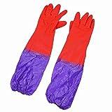 Guantes de Trabajo de Limpieza eDealMax látex Oversleeves Diseño Puño Largo púrpura Par Rojo