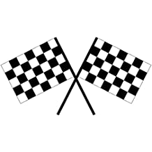 "USTORE Vinyl Sticker Decal Checkered Racing Flags Weather Resist for Windows Car Cell Phone Bumpers Laptop Wall, 3"" Wide"