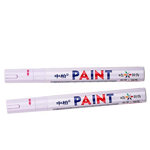 2× Universal Waterproof Permanent Paint Marker Pen Car Tyre Tire Tread Rubber Metal (White) ()