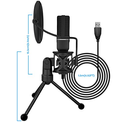 PC Microphone, Yanmai Professional USB Condenser Microphone for PC/Laptop Plug & Play with Double-layer Pop Filter and Tripod Stand for Studio Recording, Broadcasting and Gaming