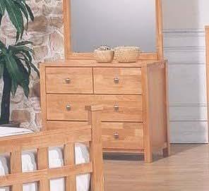 Natural Finish Wood Bedroom Storage Dresser W 4 Drawers Kitchen Dining