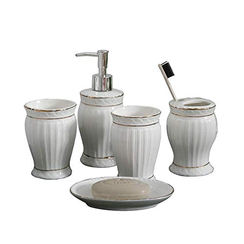 NarwalDate 5 Pieces Bathroom Toiletries Accessory Set, Includes Decorative Countertop Soap Dish & Dispenser, Tumbler, Toothbrush Holder (White)