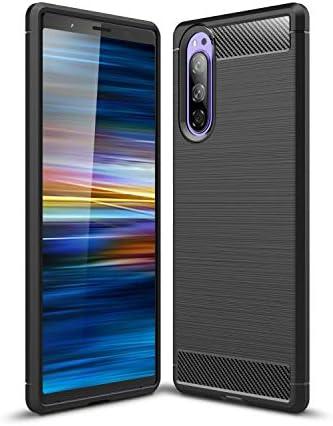 Sony Xperia 5 Case, Cruzerlite Carbon Fiber Texture Design & Leather Texture Design Back Cover Anti-Scratch Shock Absorption Case for Sony Xperia 5 (Black)