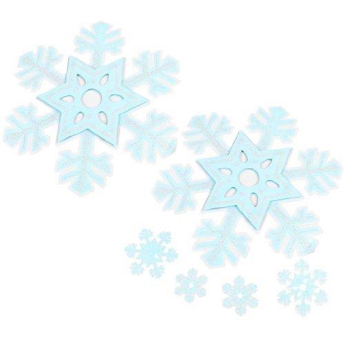 38 Carte 1 Light - Fiocco di neve di progettazione Wall Decals Stickers 6 in 1 Light Blue