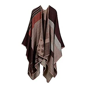Ponchos Blanket Scarf Wrap Shawl Tartan Large Warm Check Pattern Thick Scarf Oversized Blanket Cape for Women Leopard Brown