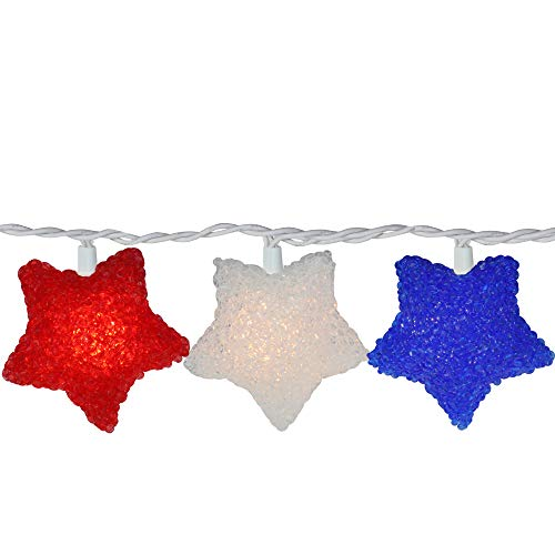 10 Red, White and Blue Fourth of July Star String Lights - 7.25ft White Wire]()
