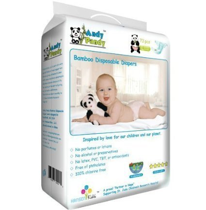 Andy Pandy Premium Bamboo Disposable Diapers, Large, 70 Count