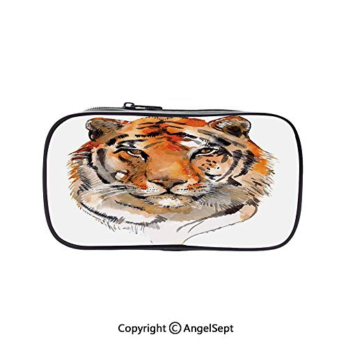 (Two Big Pockets for Executive Fountain Pen,Feline Animal with Calming Stare Hand Drawn Watercolor Art Exotic Wildcat Hunter Orange Black 5.1inches,Multi-Functional 72 Slots Colored Pencil Case)