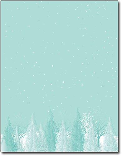 Aqua Trees Holiday Paper - 80 Sheets (Laser Inkjet Stationary)