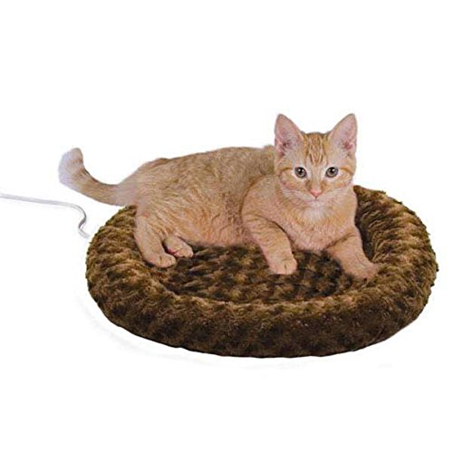 K&H Manufacturing Thermo-Kitty Fashion Splash Heated Cat Bed Mocha